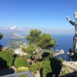 Capri's view and statue of Tiberio