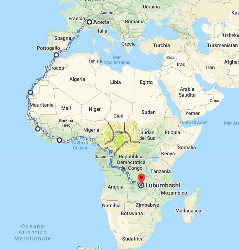 Mappa del viaggio VéloAfrique